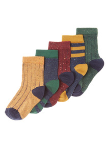 Multicoloured Five Pack Sporty Socks (3 - 6.5 years)