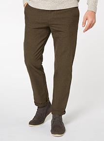 Khaki Straight Leg Flannel Chino