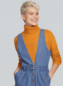 Yellow Roll Neck Pointelle Jumper