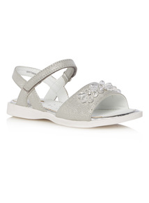 Girls Silver Jewelled Sandals