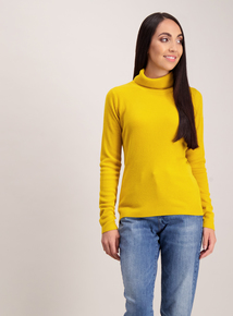 Mustard Soft Touch Rib Roll Neck Jumper