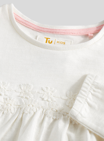 White Long Sleeve Daisy Top (9 months - 6 years)