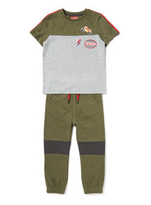 Multicoloured Badged T-Shirt and Joggers Set (9 months-6 years)