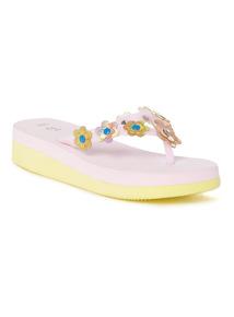 Pink Pastel Wedge Flip Flops