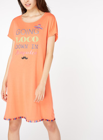 'Going Loco Down In Acapulco' Slogan Print Nightdress