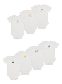White Animal Bodysuits 7 Pack (0 - 24 months)
