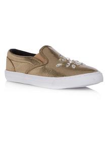 Girls Gold Jewelled Skater Shoe