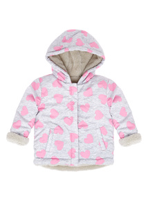 Grey Heart Borg Lined Jacket (0-24 months)