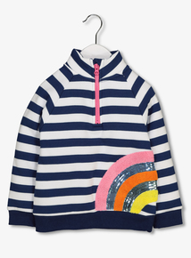 Blue Striped Rainbow Motif Fleece (9 Months - 6 Years)