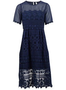 IZABEL Navy Layered Lace Midi Dress