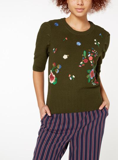 Khaki Floral Embroidered Jumper