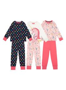 Girls Pink Unicorn Pyjamas 3 Pack