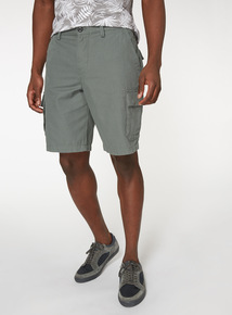 Online Exclusive Green Canvas Cargo Shorts