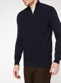 Navy Seed Stitch Half Zip Jumper