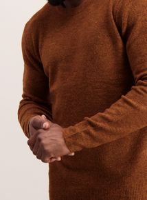 Rust Brown Bouclé Knit Crew Neck Jumper