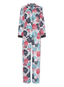 Multicoloured Crepe Oriental Print Pyjama Set