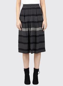 IZABEL Black Contrast Print Midi Skirt