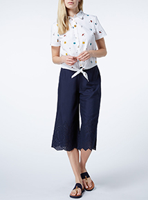 Navy Embroidered Crop Trousers