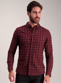 Burgundy Check Slim Fit Shirt