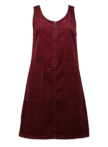 Online Exclusive Burgundy Corduroy Pinafore Dress