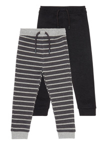 Boys Grey Stripped Joggers 2-Pack (9 months - 6 years)