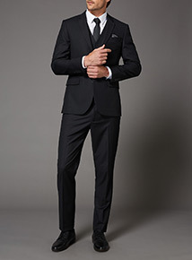 Black Textured Slim Fit Stretch Suit Jacket