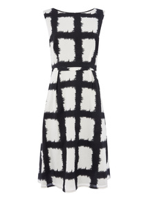 Monochrome Windowpane Sateen Dress