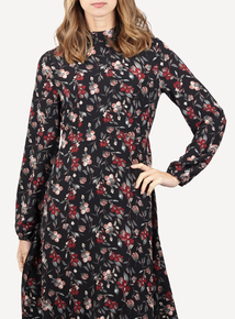 IZABEL Multi Black Floral Print Midi Dress