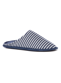 Navy Stripe Jersey Lined Mule Slippers