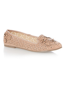Nude Laser Cut Flower Slippers