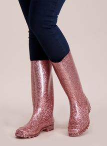 Pink Glitter Wellies