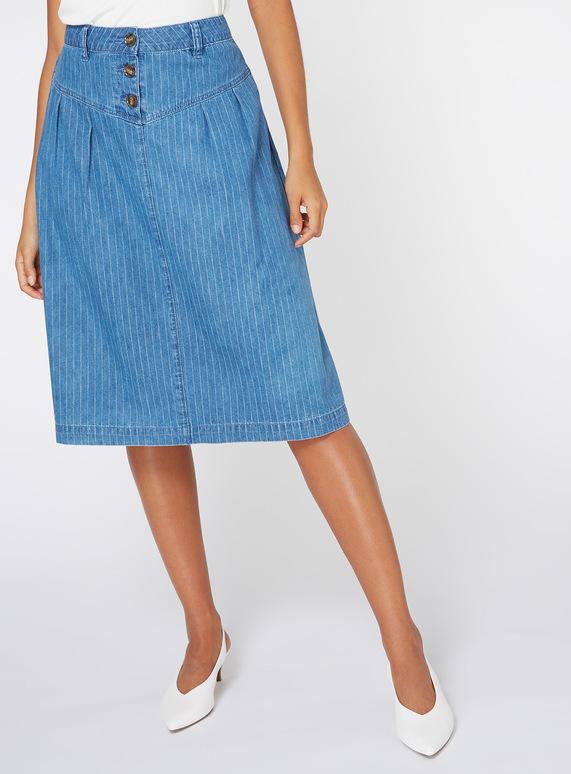 Mid Denim Pinstripe Skirt