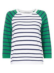 Contrast Sleeve Striped Jumper