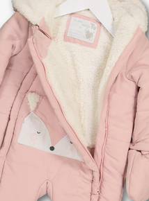 Pink Snow Fox Quilted Snowsuit (0-24 months)