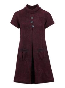 IZABEL Wine Roll Neck Dress