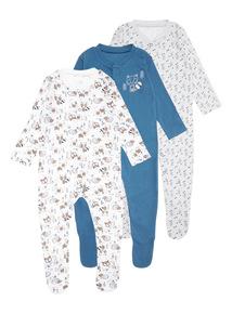 Multicoloured Three Pack Mountain Explorer Sleepsuit (0-24 months)