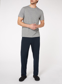 Grey Textured Stripe T-Shirt and Trouser Pyjamas