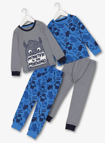 Blue Monster Print Pyjamas 2 Pack (1.5 - 12 Years)