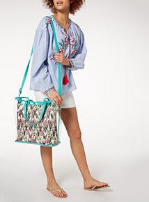 Multicoloured Tropical Parrot Print Plastic Shopper Swim Bag