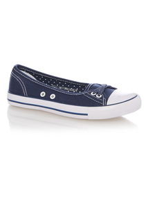 Girls Navy Low Lace Canvas