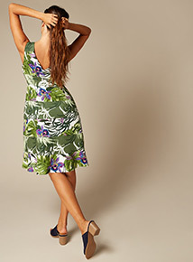 Premium Floral Print Fit and Flare Dress