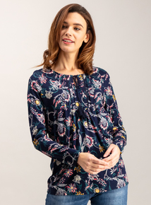 Multicoloured Floral Print Pintuck Top