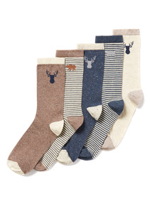 5 Pack Multicoloured Into The Wild Socks (3-6.5 years)