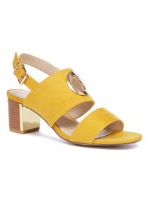 Sole Comfort Yellow Ring Block Heel Sandals