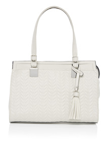 Grey Chevron Quilted Faux Leather Tote