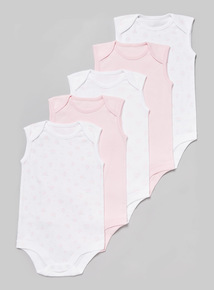 5 Pack Pink Sleeveless Bodysuit (Tiny baby - 36 months)