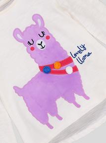 White Llama Motif Long Sleeve T-Shirt (9 months-6 years)
