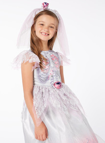 Grey Halloween Gothic Bride with Veil  (3-12 years)