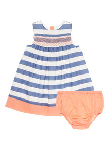 Girls Blue Stripe Dress And Knicker (0 - 24 months)