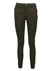 Khaki Zip Detail Brushed Twill Skinny Fit Trouser